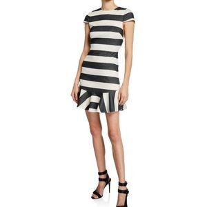Alice + Olivia Striped Cap-Sleeve Ruffle Dress